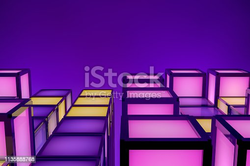 3D Rendering Neon Colored Cube Blocks, in a row, education, architecture, purple background, retro style.