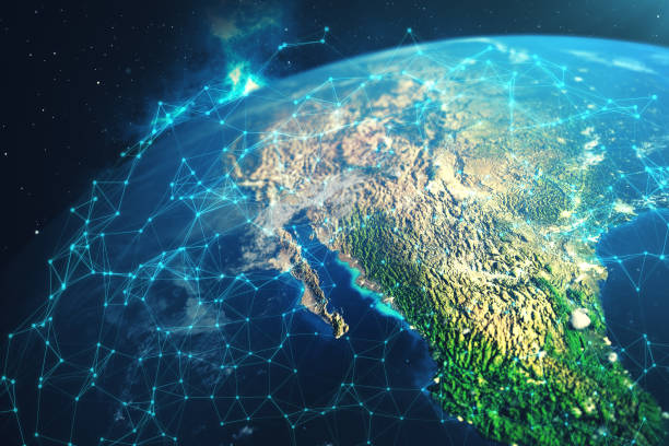 3d rendering network and data exchange over planet earth in space. connection lines around earth globe. global international connectivity. elements of this image furnished by nasa - saudi arabia map stock photos and pictures