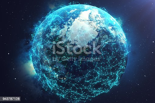 istock 3D rendering Network and data exchange over planet earth in space. Connection lines Around Earth Globe. Global International Connectivity. Elements of this image furnished by NASA 943787128