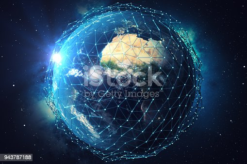 1019729218 istock photo 3D rendering Network and data exchange over planet earth in space. Connection lines Around Earth Globe. Blue Sunrise. Global International Connectivity. Elements of this image furnished by NASA 943787188