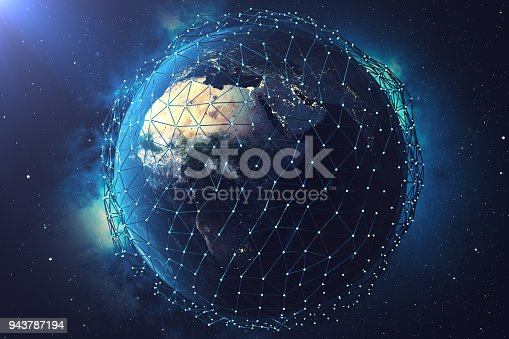 istock 3D rendering Network and data exchange over planet earth in space. Connection lines Around Earth Globe. Global International Connectivity. Elements of this image furnished by NASA 943787194