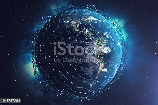 istock 3D rendering Network and data exchange over planet earth in space. Connection lines Around Earth Globe. Global International Connectivity. Elements of this image furnished by NASA 943787204
