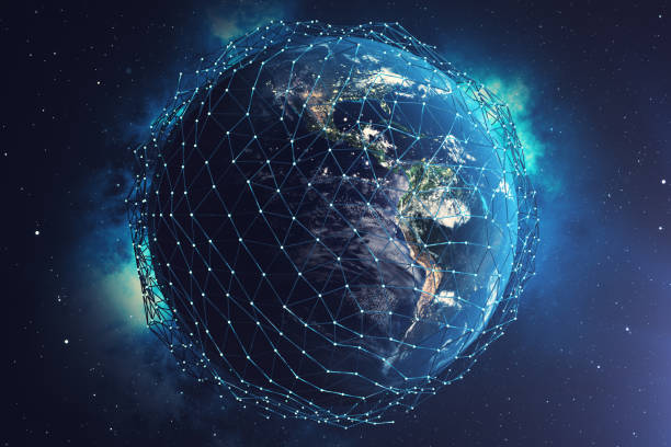 3D rendering Network and data exchange over planet earth in space. Connection lines Around Earth Globe. Global International Connectivity. Elements of this image furnished by NASA stock photo