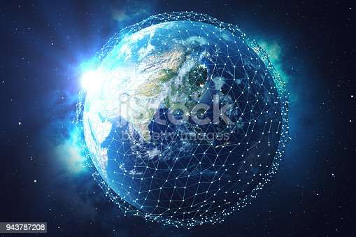 istock 3D rendering Network and data exchange over planet earth in space. Connection lines Around Earth Globe. Blue Sunrise. Global International Connectivity. Elements of this image furnished by NASA 943787208