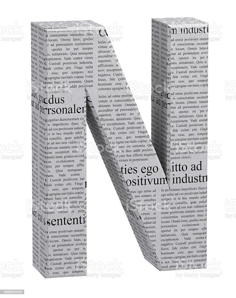 3D Rendering Newspaper N Font 3D Illustration stock photo