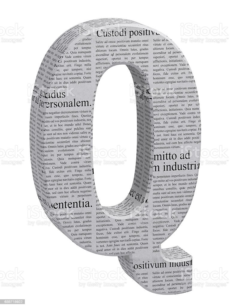 3D Rendering Newspaper Q Font 3D Illustration royalty-free stock photo