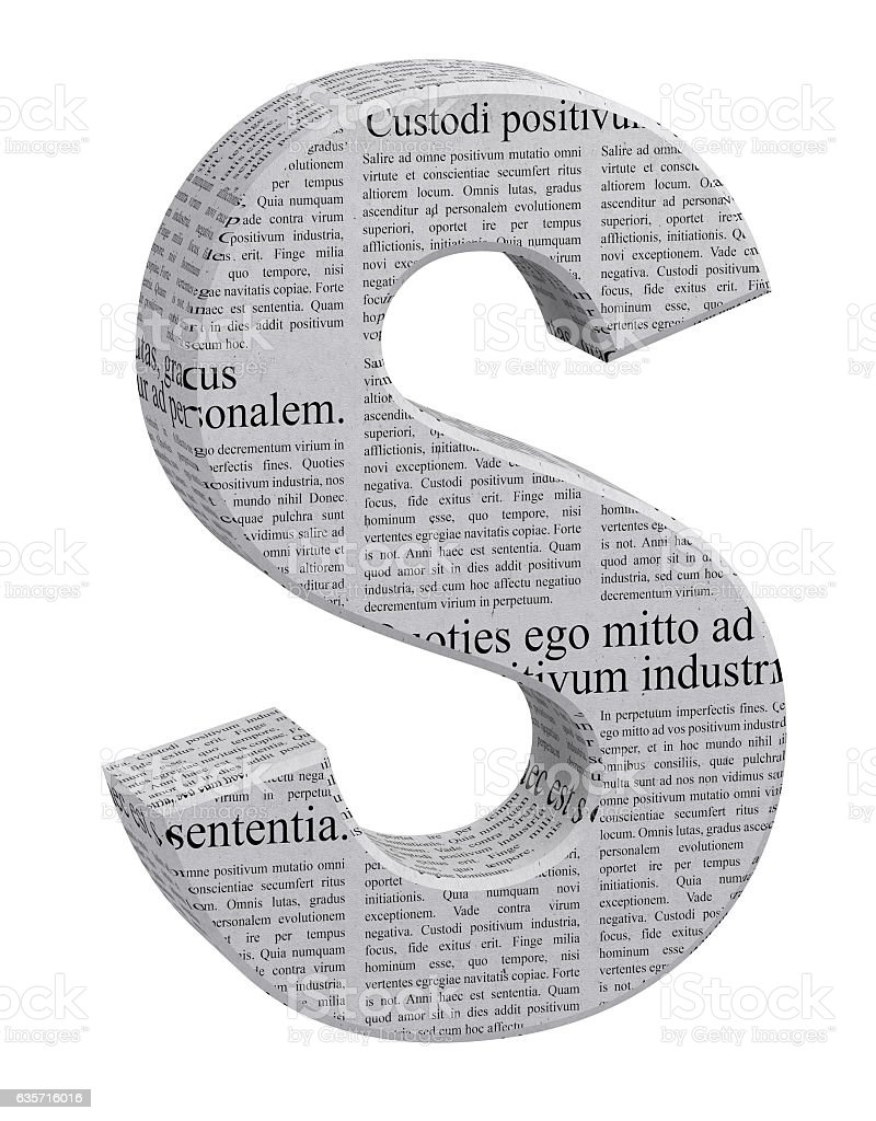 3D Rendering Newspaper S Font 3D Illustration royalty-free stock photo