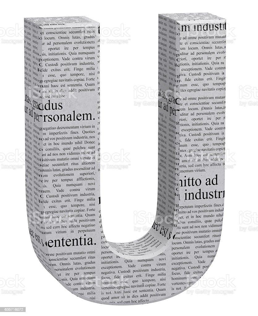 3D Rendering Newspaper U Font 3D Illustration royalty-free stock photo