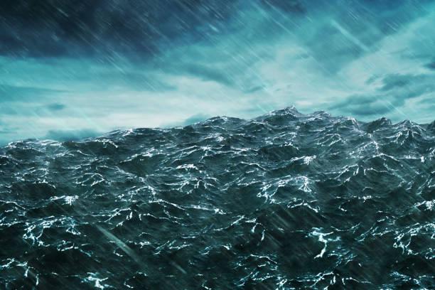 3D rendering Ocean wave with storm stock photo