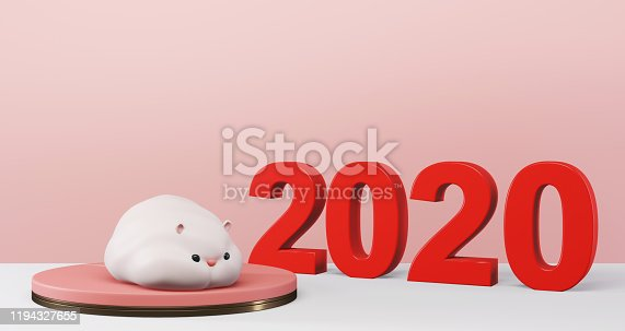 1176499937 istock photo 3D rendering of 2020 Chinese New Year. Cute rat on pedestal with red 2020 background,luxury minimalist mockup. Year of the rat 1194327655