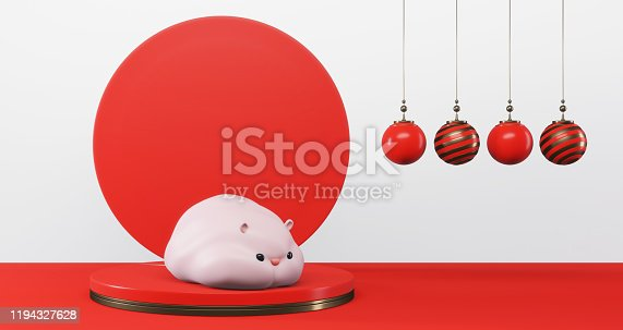 1176499937 istock photo 3D rendering of 2020 Chinese New Year. Cute rat on pedestal with red circle background and gift ball,luxury minimalist mockup. Year of the rat 1194327628
