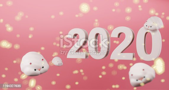 1176499937 istock photo 3D rendering of 2020 Chinese New Year. Cute rats floating on pink background with light snowflakes and 2020 icon, luxury minimalist mockup. Year of the rat 1194327635