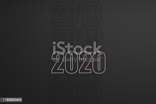968874704istockphoto 3D Rendering of 2020 Text for the new year start 1183830404