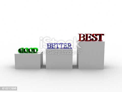 636998872 istock photo Rendering of 3d Good Better Best Word 610012698