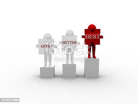 636998872 istock photo Rendering of 3d Man Holding Puzzle Good Better Best Word 610012666