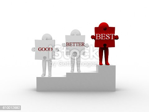 636998872 istock photo Rendering of 3d Man Holding Puzzle Good Better Best Word 610012682