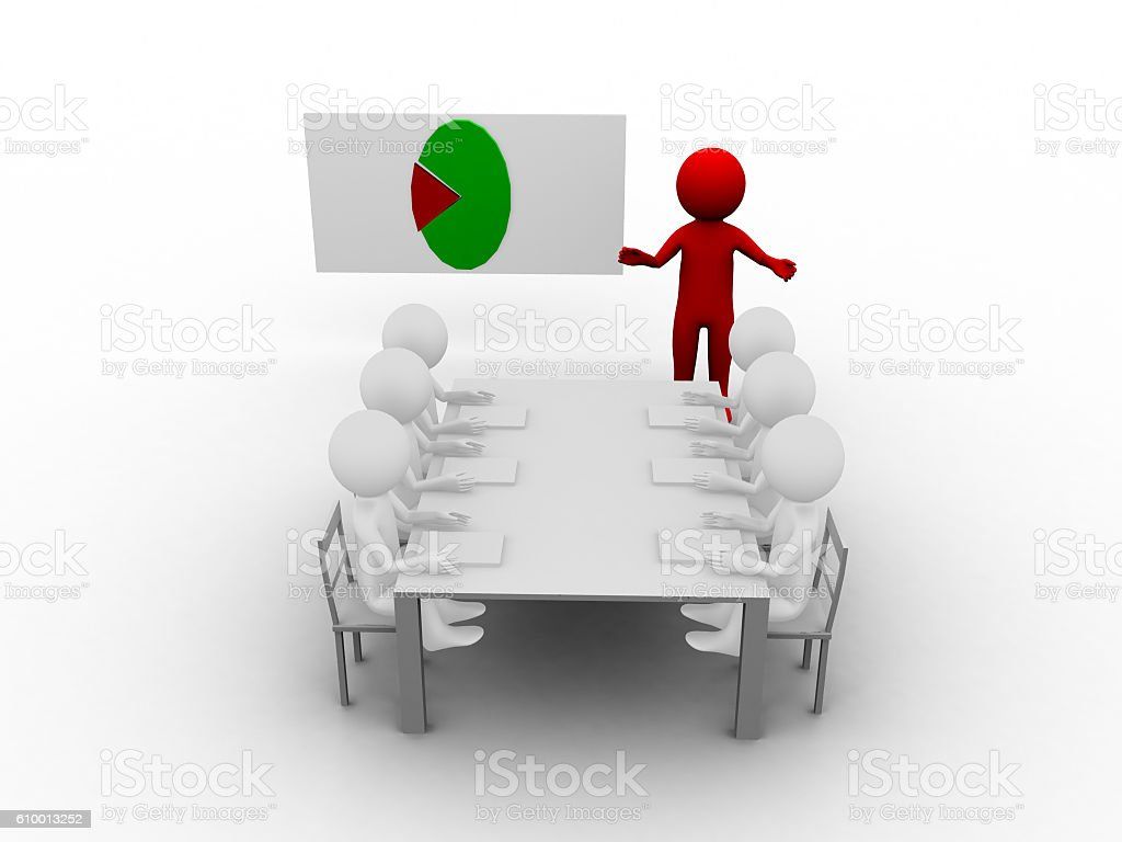 Rendering of 3d team presentation and graph result stock photo