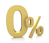 istock 3D rendering of a 0 percent in gold letters 486682656