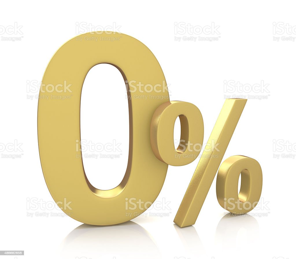 3D rendering of a 0 percent in gold letters stock photo