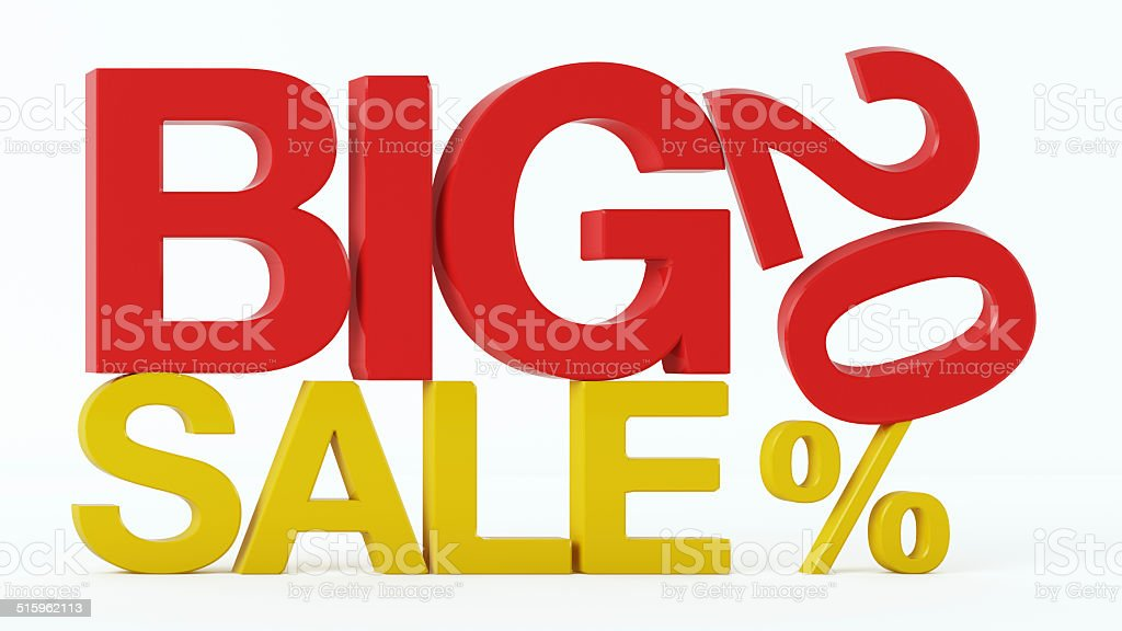 3D rendering of a 20 Percent and Big Sale Text stock photo