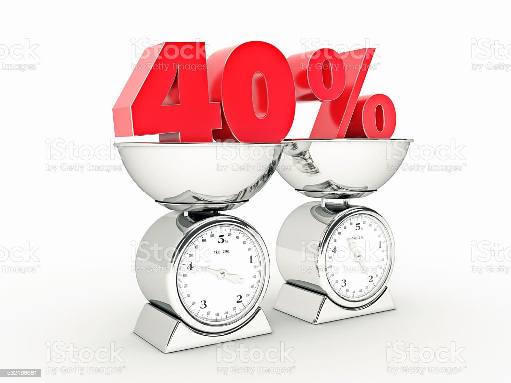 3D rendering of a 40 percent discount stock photo