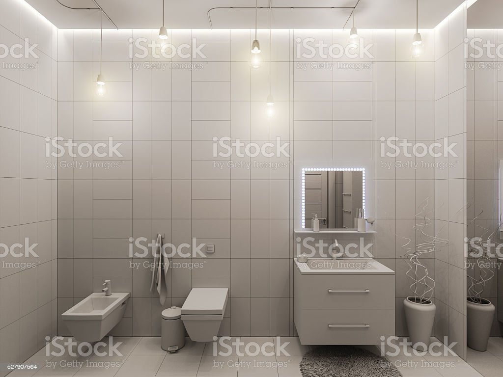 12drendering Ein Badezimmer Interieur Für Kinder Stockfoto und mehr Bilder  von Badewanne