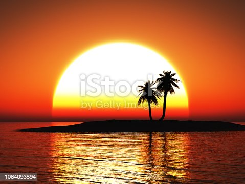 istock 3D rendering of a beautiful tropical sunset. 1064093894