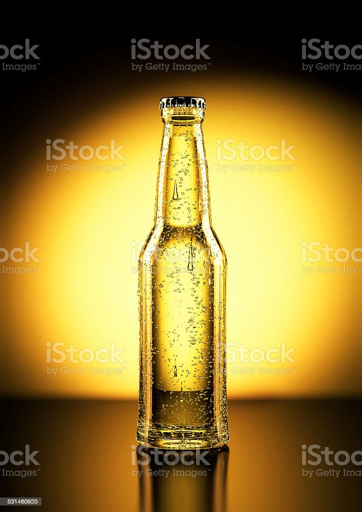 3D Rendering of a beer bottle stock photo