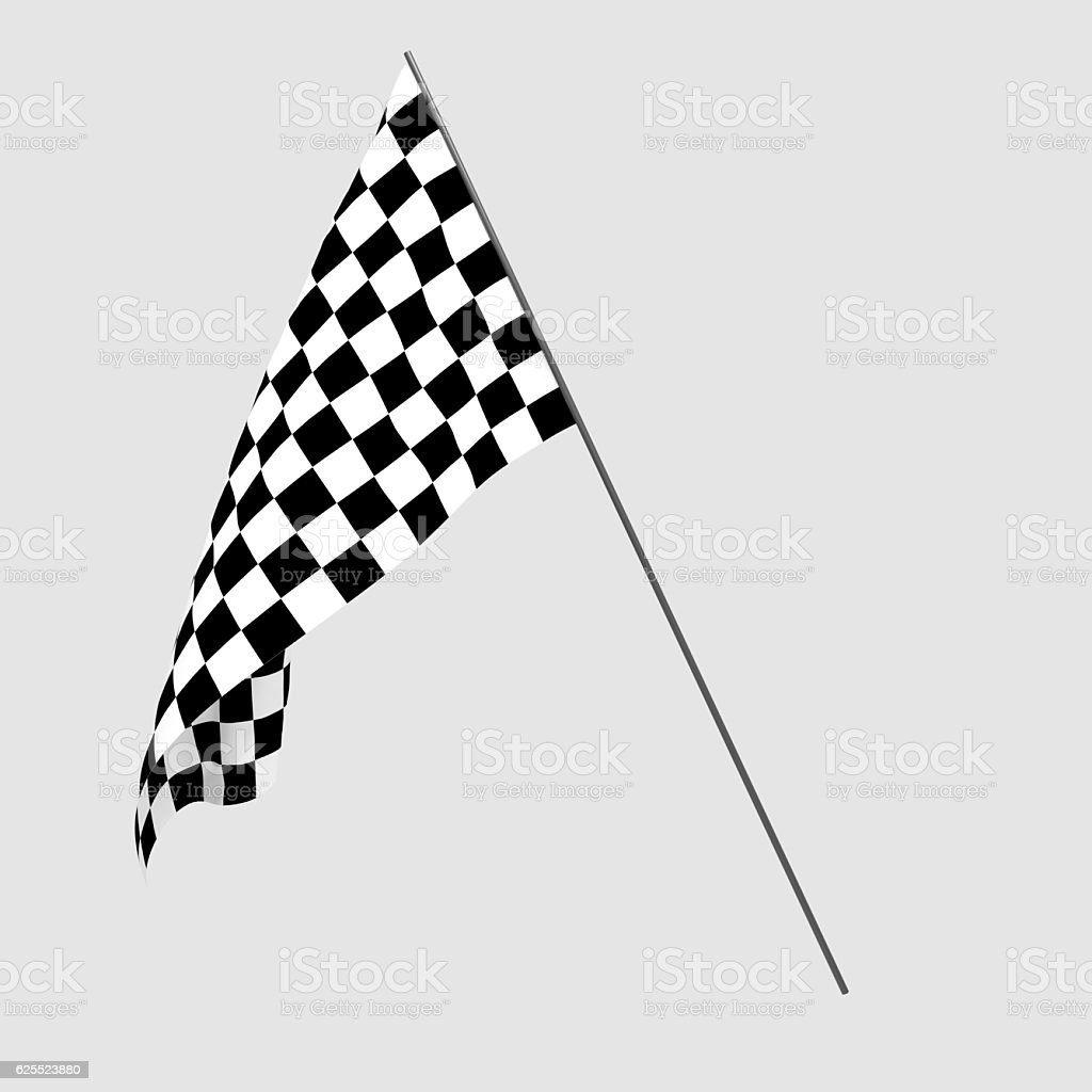 3D rendering of a black and white flag for racing stock photo
