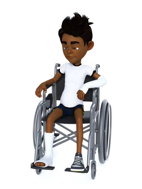 3D rendering of a black cartoon boy sitting in a wheelchair. stock photo