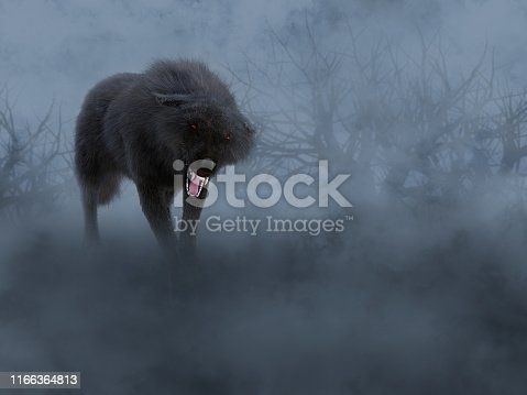 3D rendering of a black growling aggressive wolf with glowing red eyes in a dark mysterious foggy forest.