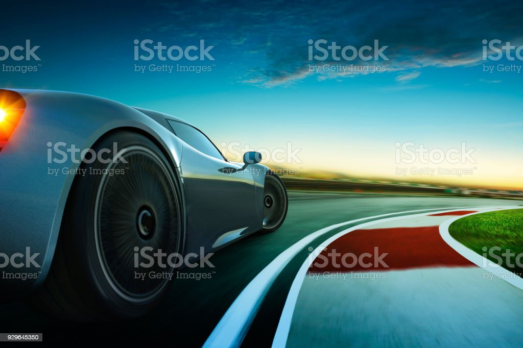 3D rendering of a brand-less grey sport car with  motion blur stock photo
