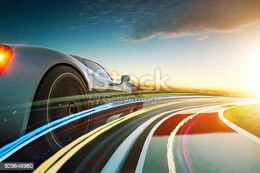 istock 3D rendering of a brand-less grey sport car with  motion blur 929646980