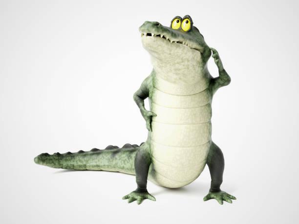 3D rendering of a cartoon crocodile thinking. stock photo