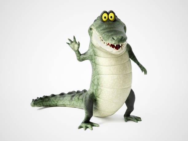 3D rendering of a cartoon crocodile waving. stock photo