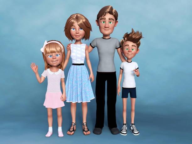 3d-rendering eines zeichentricksporträts der familie. - comic stock-fotos und bilder
