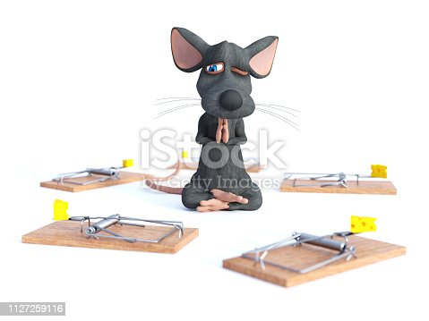 495695633 istock photo 3D rendering of a cartoon mouse doing yoga. 1127259116