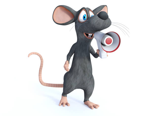 3D rendering of a cartoon mouse holding megaphone. stock photo