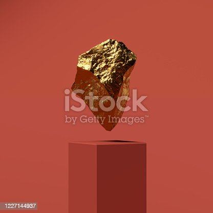 3D rendering of a cliff of gold, a sculpture levitates above a curbstone on a red background, banner or wallpaper