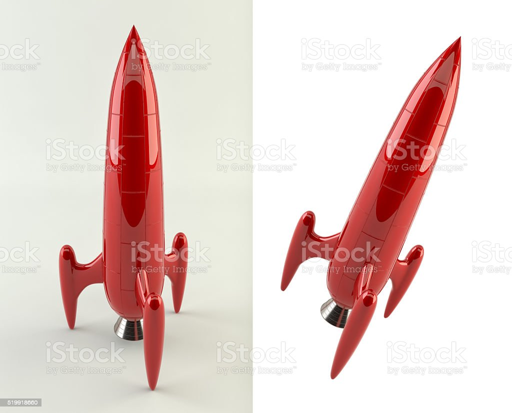 3 D imagen de un cohete de estilo cómic - foto de stock