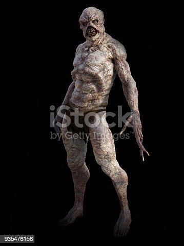 Full figure portrait of a daemon monster creature standing, 3D rendering. Black background.