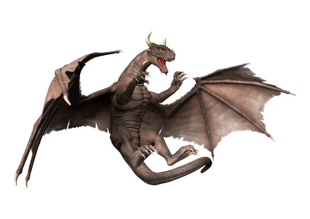 3D rendering of a fantasy dragon isolated on white stock photo
