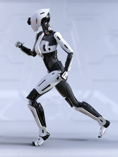 3D rendering of a female android robot running. stock photo