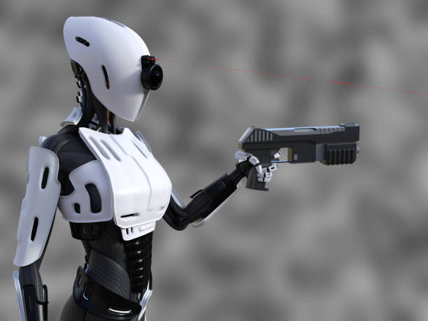 3D rendering of a female android robot with gun. stock photo