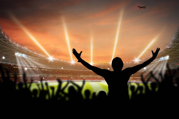 3D Rendering of a Football soccer Stadium at night in lights stock photo