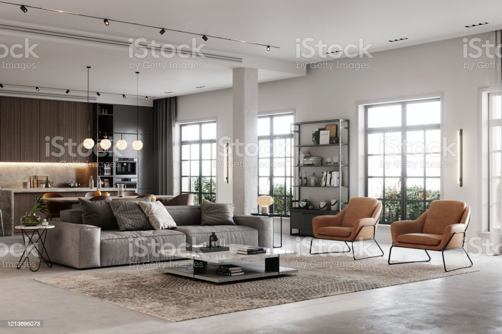 3D rendering of a fully furnished living room - Royalty-free Apartment Stock Photo