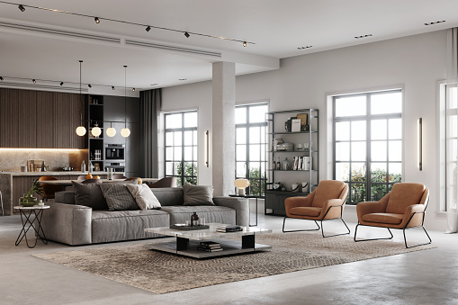 3D rendering of a fully furnished living room. Large and luxurious interiors of a modern living room.