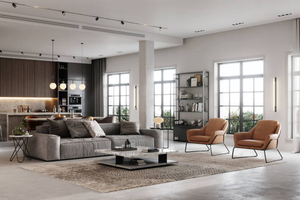 3D rendering of a fully furnished living room stock photo