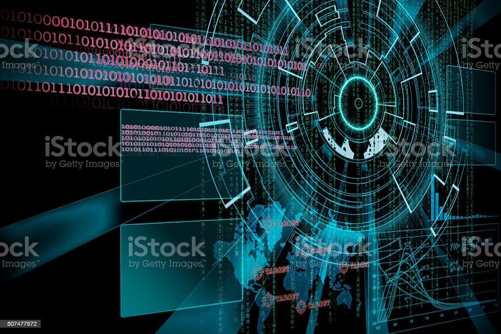 rendering of a futuristic cyber background target with laser lig stock photo