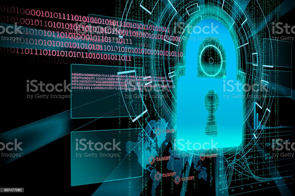 rendering of a futuristic cyber  lock background target with las stock photo